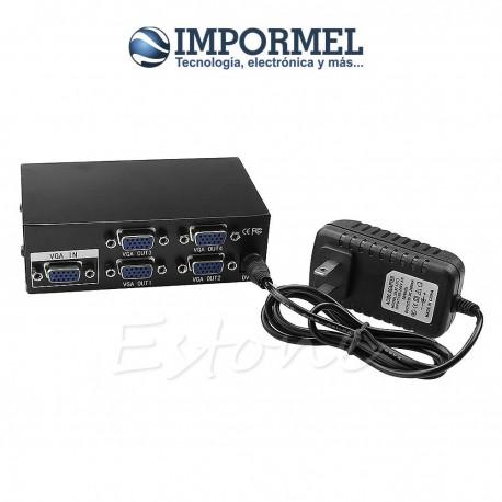 Splitter De Video 4 Puertos Vga Pc Monitor Lcd 1920x1440