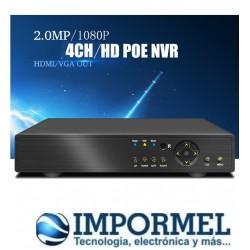 NVR POE 4CH 1080P CCTV 48V Seguridad Switch Grabador P2P ONVIF