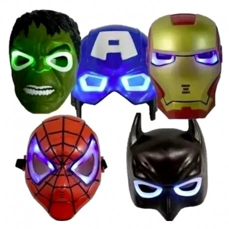 Máscaras Avengers Con Luz Iroman Hulk Batman Spiderman Cap