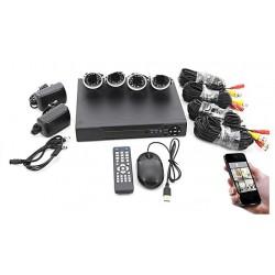 Kit 4 Camaras Vigilancia Seguridad Hd 1080p Dvr Cctv Cables
