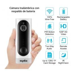 Cámara Visión Nocturna Inalámbrica Recargable Wifi 720p Hd