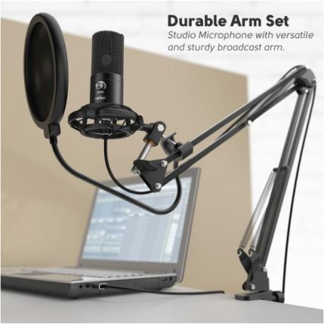 Microfono De Estudio Condensador Usb Pc Soporte Brazo Fifine