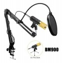 Microfono De Estudio Condensador Usb Pc Soporte Brazo Bm-900