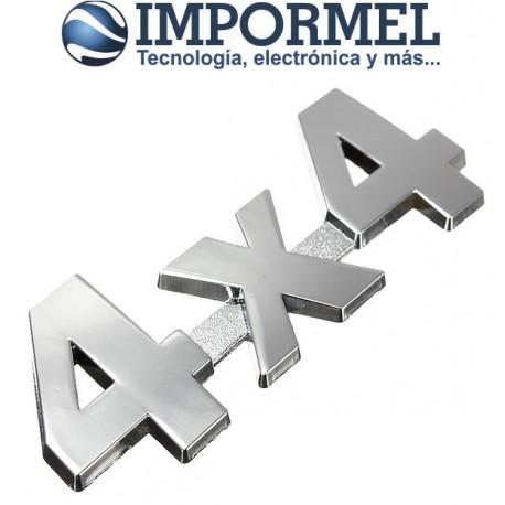 Emblema Logo 4x4 4 X 4 Cromado Adhesivo 3m Tuning Plateado