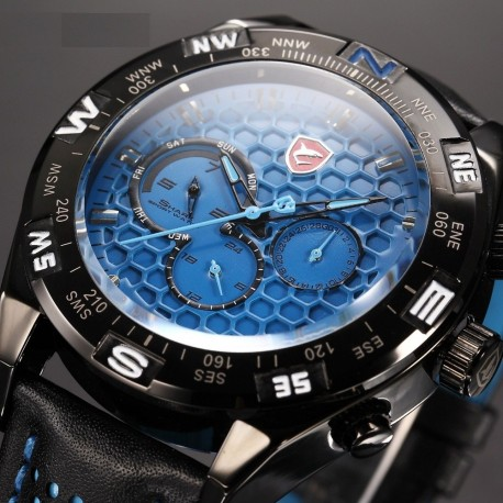 Reloj Original Shark Sh115 Correa Cuero 3atm Analogo