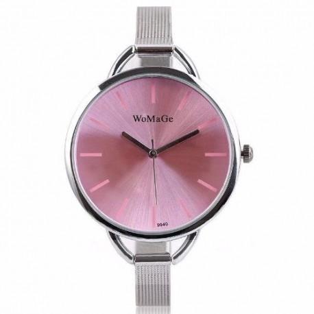 Reloj De Mujer Elegante De Acero Inoxidable Luna Rosada